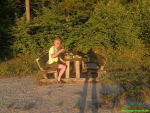 Essen in der Abendsonne