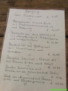 Speisekarte Burggasthof